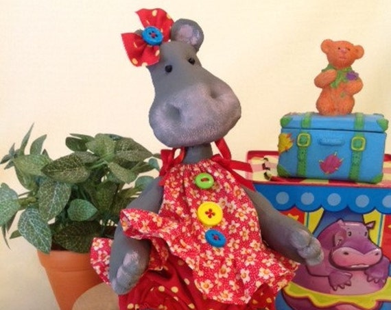 Baby Hippo - Cloth Doll E-Pattern Little Girl Hippo sewing pattern