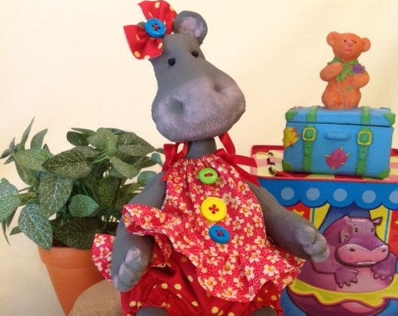 Baby Hippo - Mailed Cloth Doll Pattern Baby Girl Hippo Sewing Pattern