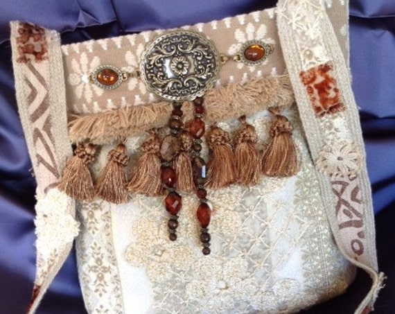 Handmade Boho Bohemian Style Off White Brocade & Tassels Cross Body Purse, Free Shipping