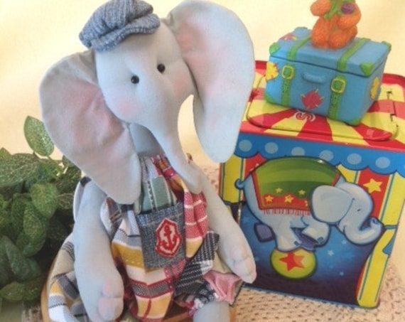 Baby Elephant - Cloth Doll E-Pattern A cute little Baby Elephant sewing design