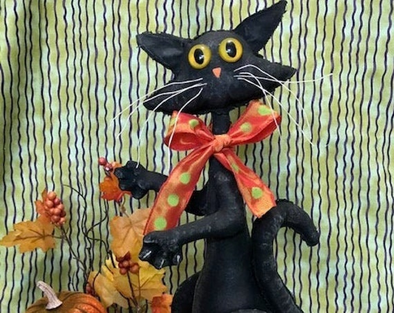 Buddy the Black Halloween Cat Mailed Cloth Doll Sewing Pattern