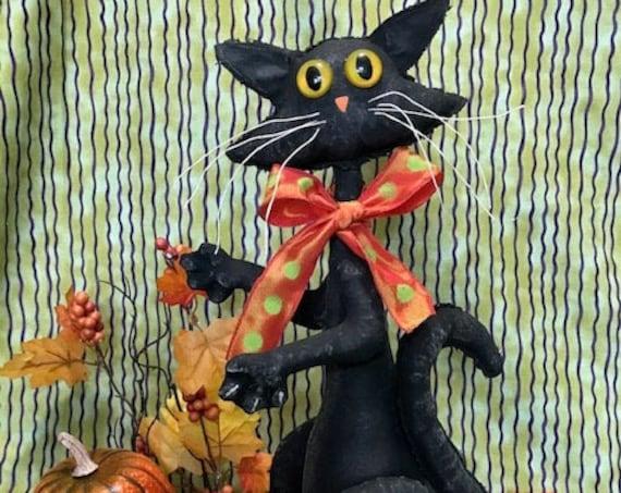 PDF Digital Download Epattern Buddy Black Halloween Cat Cloth Doll Sewing Pattern