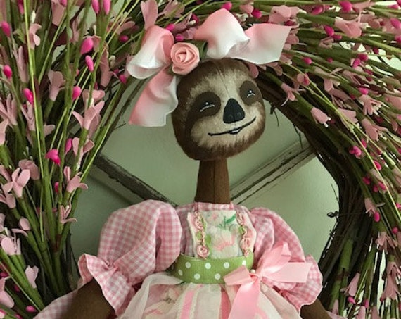 "Mailed Cloth Doll Pattern Adorable 18"" Girl Sloth Doll Pattern"