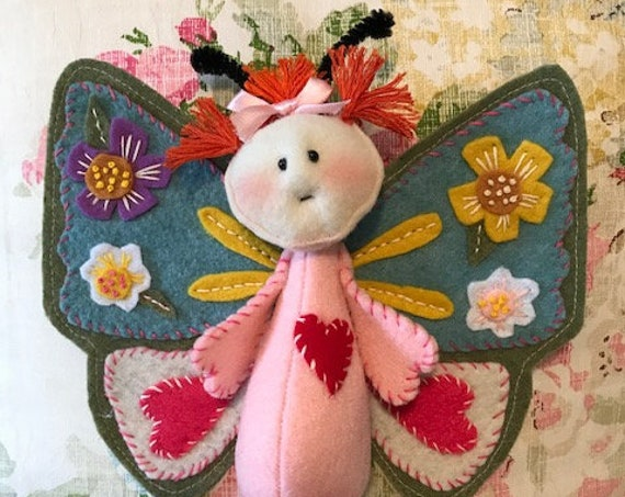 Cloth Doll Epattern Little Felt Applique Butterfly Digital Pattern
