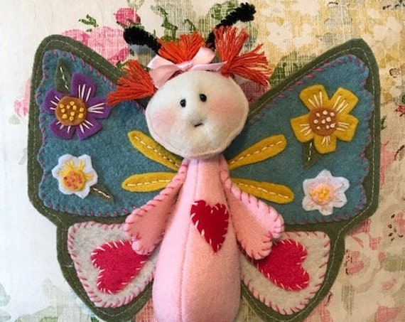 Mailed Doll Pattern Little Felt Applique Butterfly Doll
