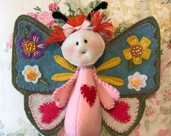 Mailed Doll Pattern Little Felt Applique Butterfly Doll