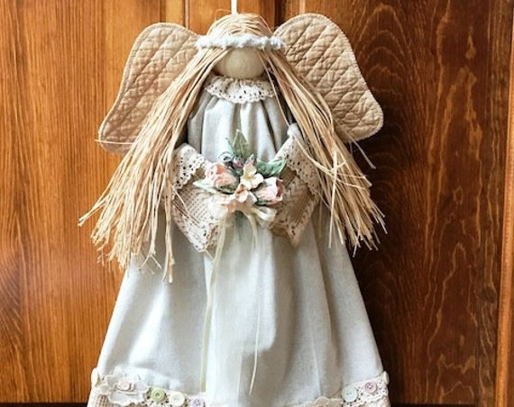 "E-Pattern Joie 20"" Hanging Country Victorian Angel Pattern FH-174"