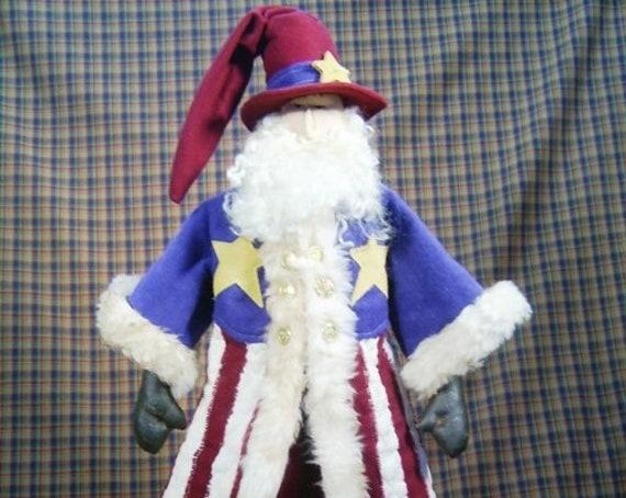 Uncle Santa - Mailed Cloth Doll Pattern 25in Patriotic July 4th Santa