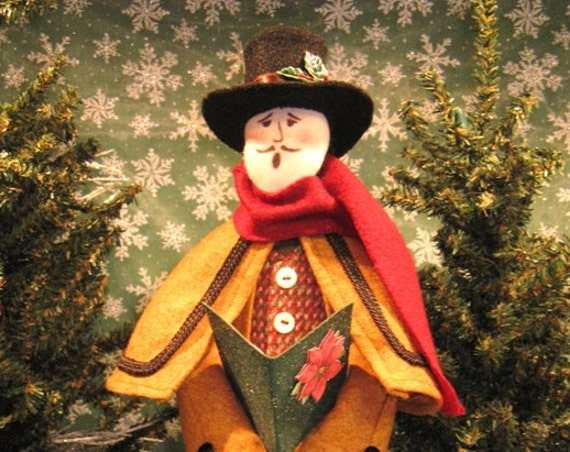 Adult Male Caroler - Cloth Doll E-Pattern Victorian Christmas Male Caroler Free Standing Stump Doll