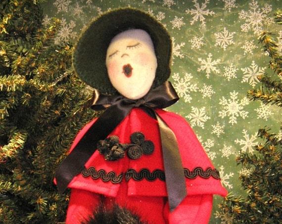 Adult Female Caroler - Cloth Doll E-Pattern  Victorian Lady Caroler Free Standing Stump Doll