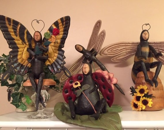 Handmade OOAK Bug Collection Vintage Art Dolls Butterfly, Dragonfly, Bee, Ladybug
