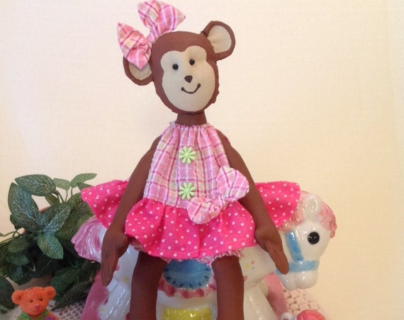 Baby Monkey - Mailed Doll Pattern Pretty Little Baby Girl Monkey sewing pattern