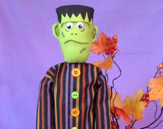Frankie - Cloth Doll E-Pattern 11inch Frankenstein Halloween Monster Free Standing Stump Doll