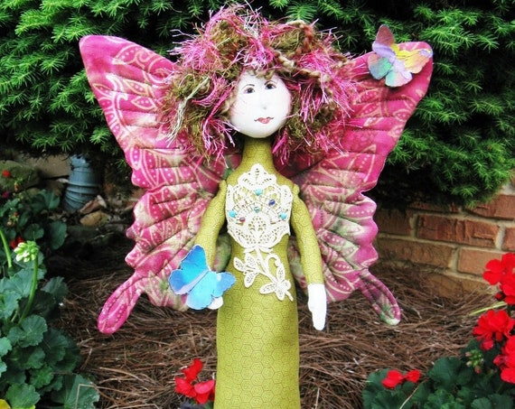 Butterfly Princess - Cloth Doll E-Pattern -18in Standing Stump Doll Fantasy Doll Epattern