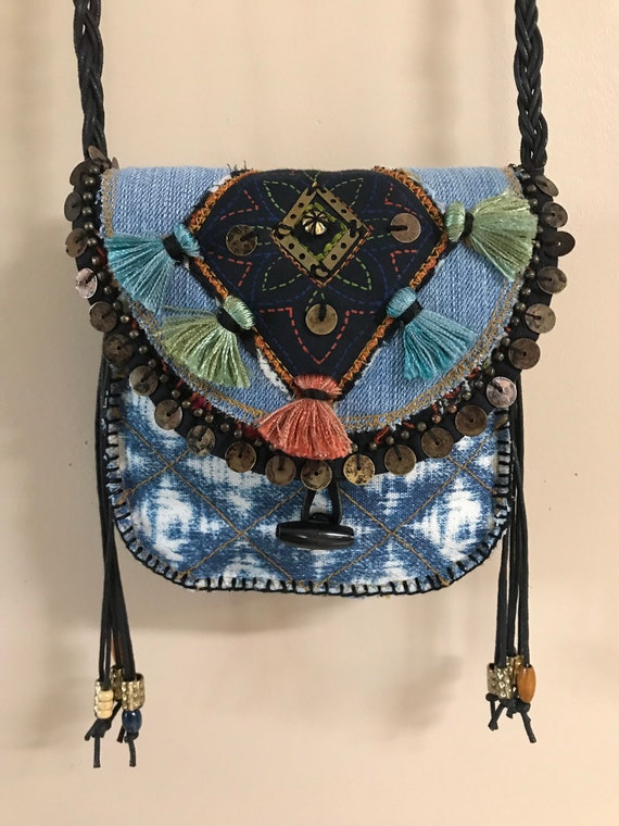 Small Handmade OOAK Bohemian Tribal Ibiza Hippie Crossbody Denim Bag