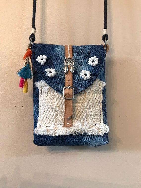 Handmade OOAK Small Bohemian Denim Phone Shoulder Bag