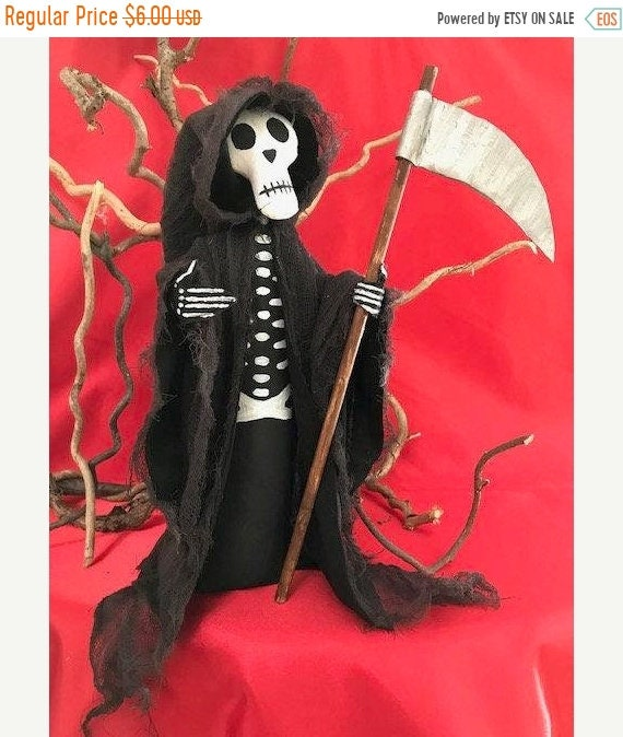 ON SALE Halloween Ghoul Grim Reaper with Sickle Cloth Doll E-pattern