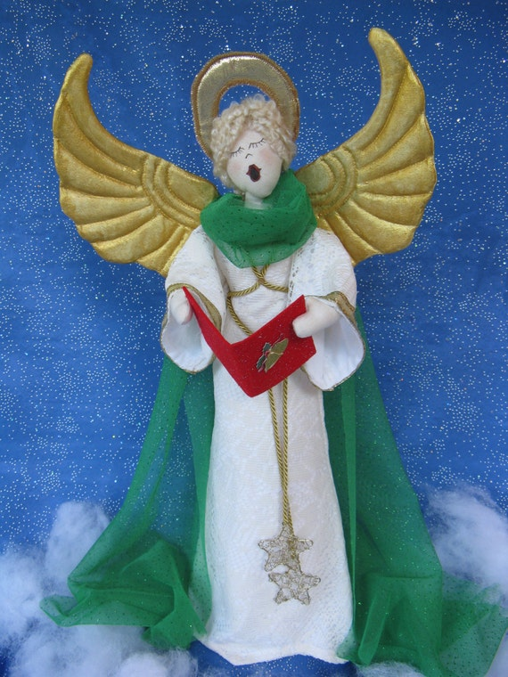 Hark the Herald Angel - Cloth Doll E-Pattern 19inch Christmas Caroling Angel Free Standing Stump Doll