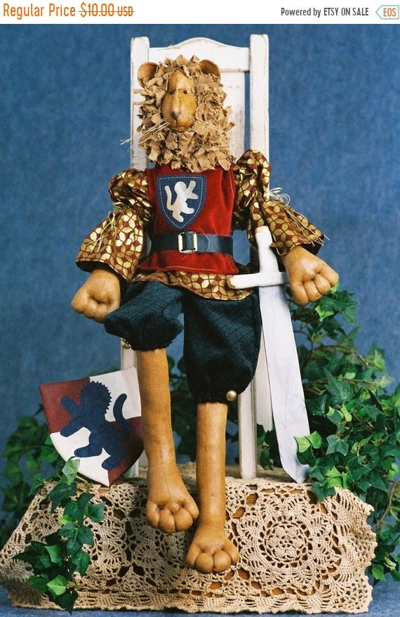 ON SALE Richard the Lion Heart - Cloth Doll E-Pattern - 24 inch Royal Lion King Animal epattern