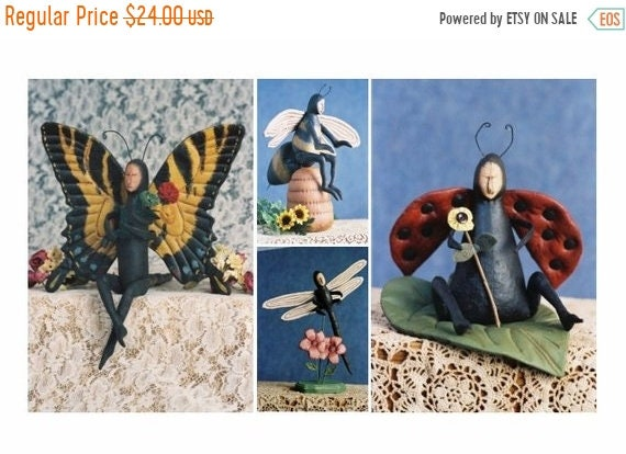 ON SALE Cloth Doll E-Pattern  Special Price 4 Bug Doll Collection Lady Bug, Bumble Bee, Dragon Fly, Butterfly