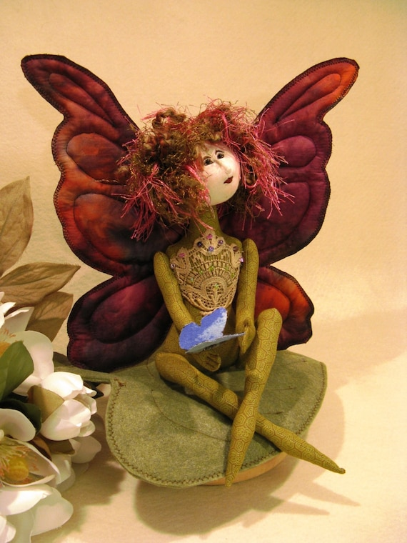 Butterfly Fairy - Cloth Doll E-Pattern 11 inch Fairy Butterfly Art Doll