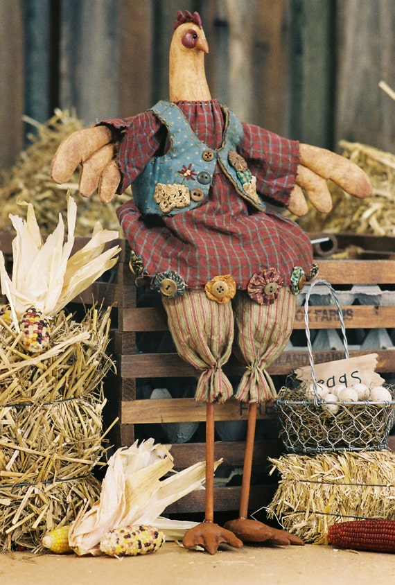 Spring Chicken - Mailed Cloth Doll Pattern 18in Primitive Country Chicken Bird