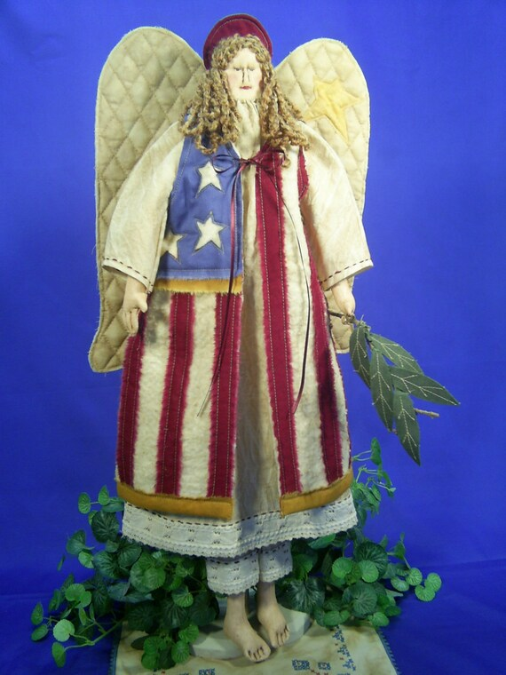 Glory - Mailed Cloth Doll Pattern- 23in Folkart Americana 4th of July Independence Day Angel