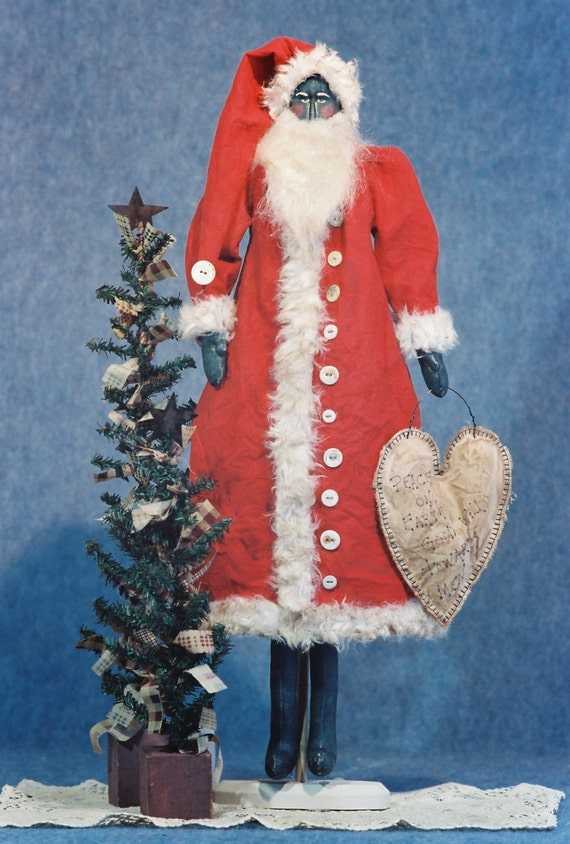 Peace - Cloth Doll E-Pattern - 24in Black Primitive Santa Epattern