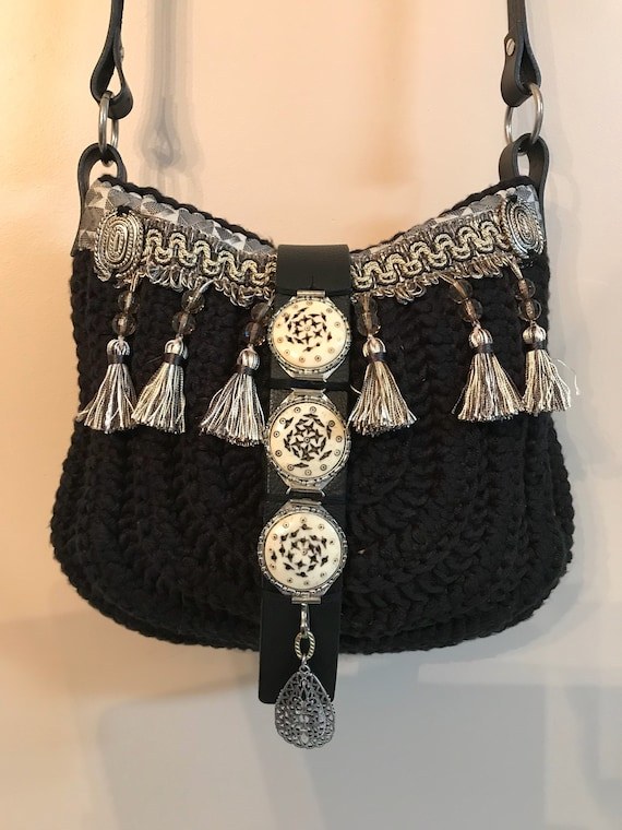 Handmade black crocheted with tassels, tribal, hobo, boho, hippie, ibiza, over the shoulder, cross body bag