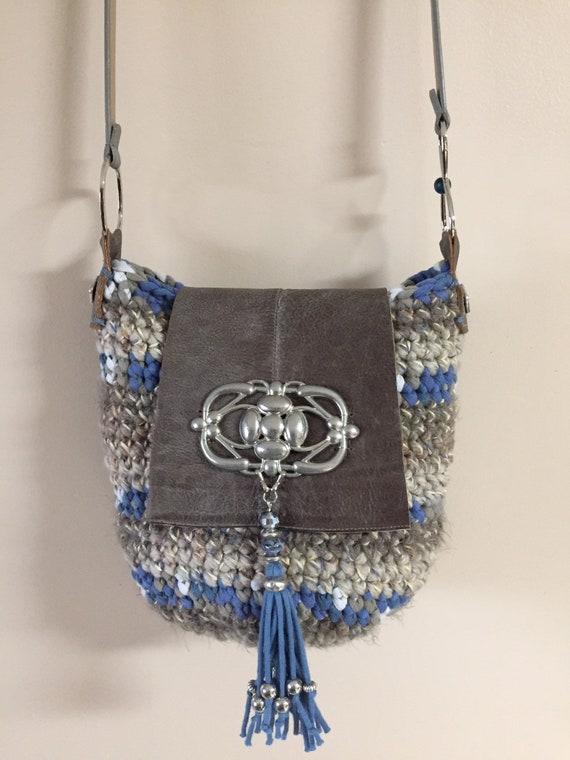 OOAK Handmade Crocheted Bucket Shaped Bohemian Shoulder Bag