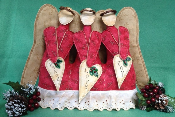 Peace, Love and Joy - E-pattern Fabric Art Pattern Christmas Decor Angels