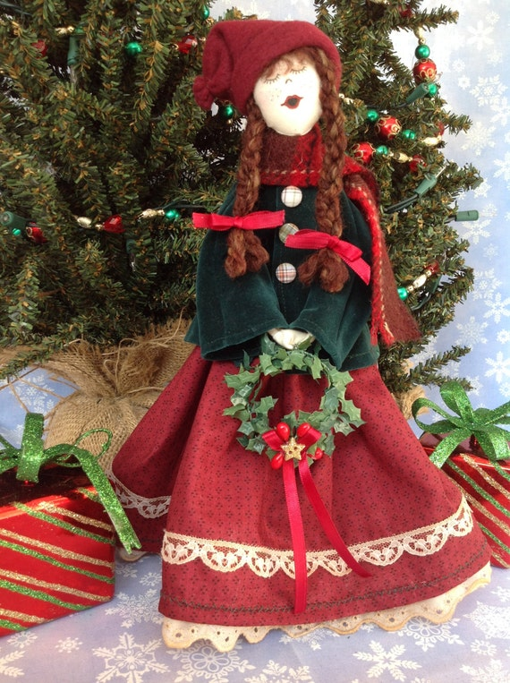 Little Girl Caroler - Cloth Doll E-Pattern 12in Victorian Christmas Girl Caroler Free Standing Stump Doll