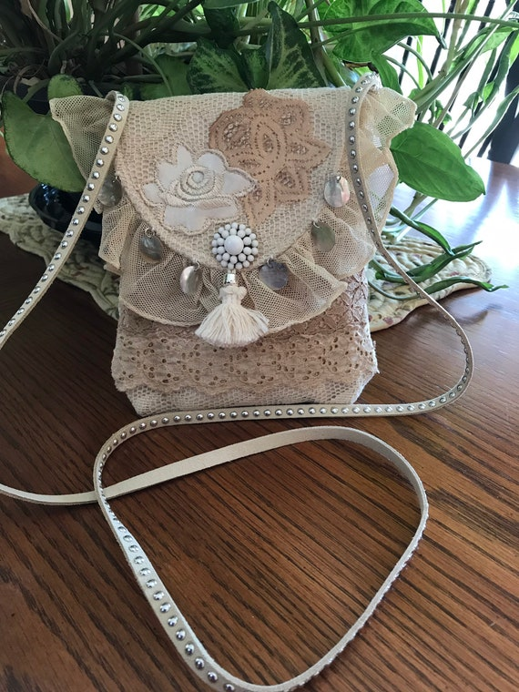 Handmade OOAK Small Vintage Lace Pouch Type Shoulder or Crossbody Bag