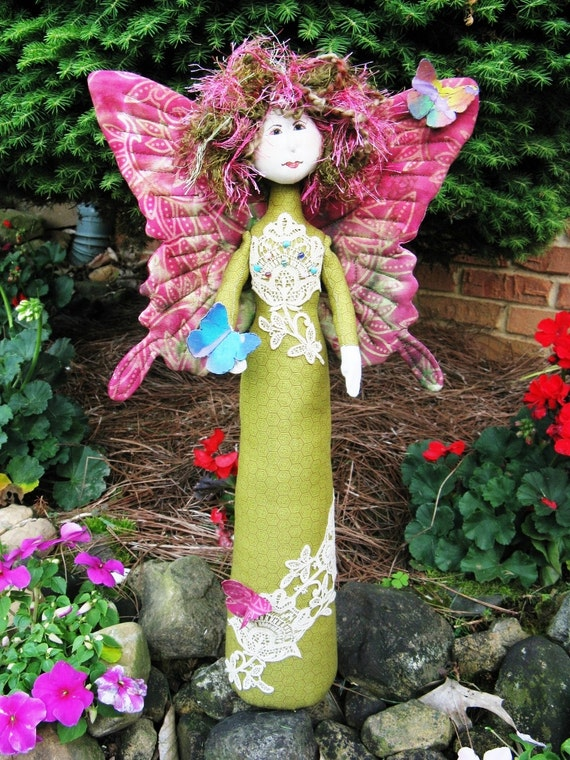 Butterfly Fairy - Mailed Cloth Doll Pattern 18in Butterfly Princess Free Standing Stump Doll Pattern