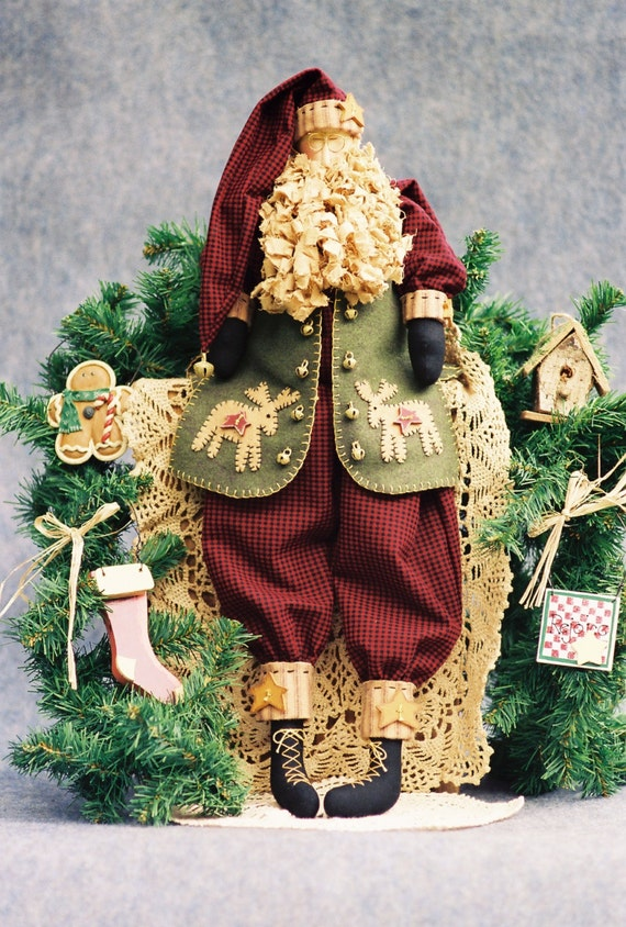 Nicholas - Mailed Cloth Doll Pattern - Christmas Folk Art Santa