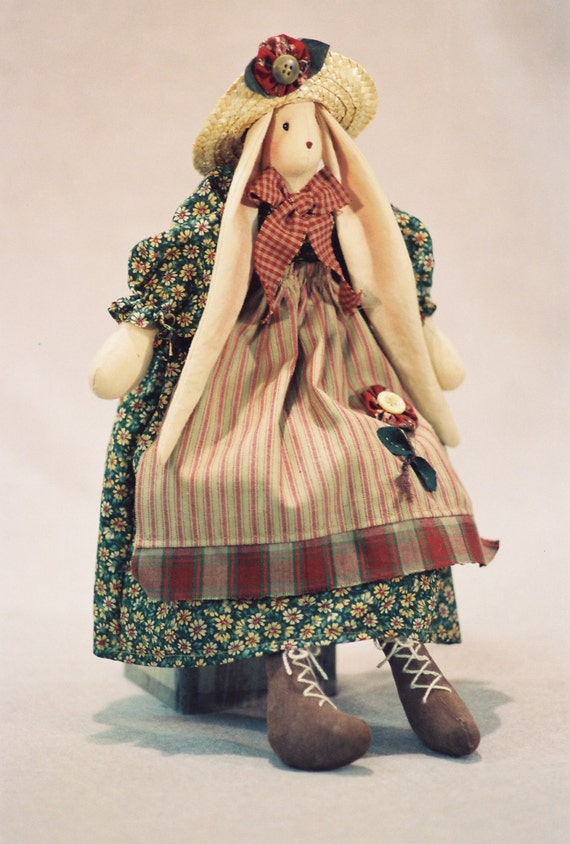 Brooke - Mailed Cloth Doll Pattern 16in Cute Country Girl Bunny Rabbit