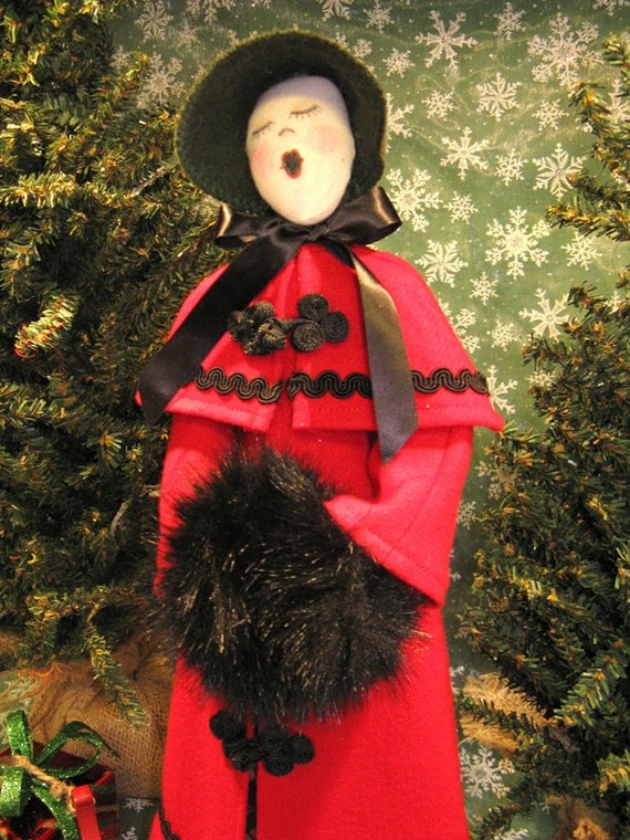 Adult Female Caroler - Mailed Cloth Doll Pattern Free Standing Victorian Lady Caroler