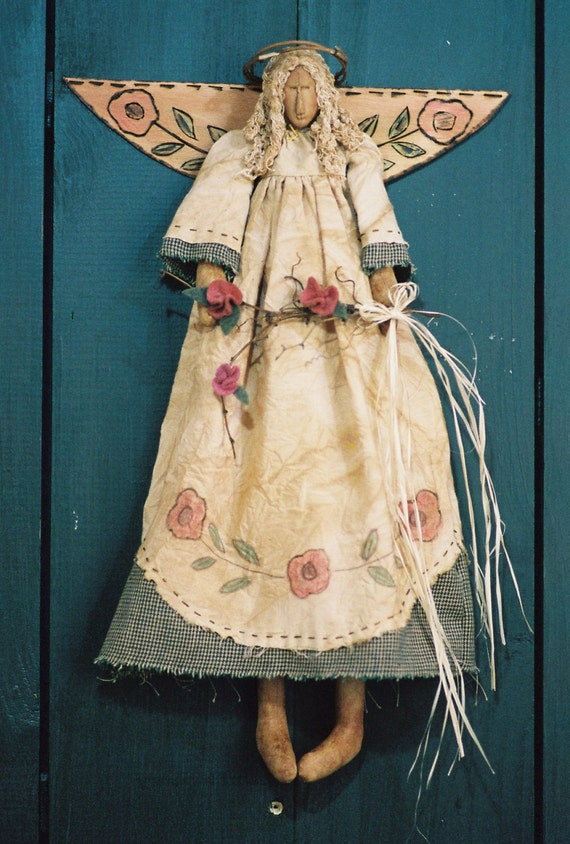 Garden Angel - Mailed Cloth Doll Pattern - 18in Victorian Garden Angel