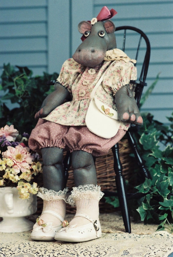 Rosebud - Mailed Cloth Doll Patterns - Adorable Baby Girl Hippo