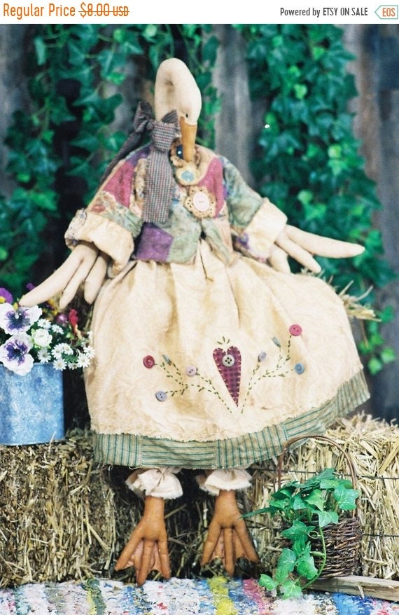 ON SALE Gandering in the Garden - Cloth Doll E-Pattern - 26in Country Goose Art Doll Animal Epattern