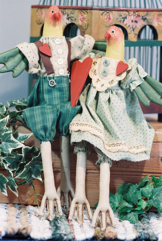 "Love Birds - Cloth Doll 16"" birds epattern"