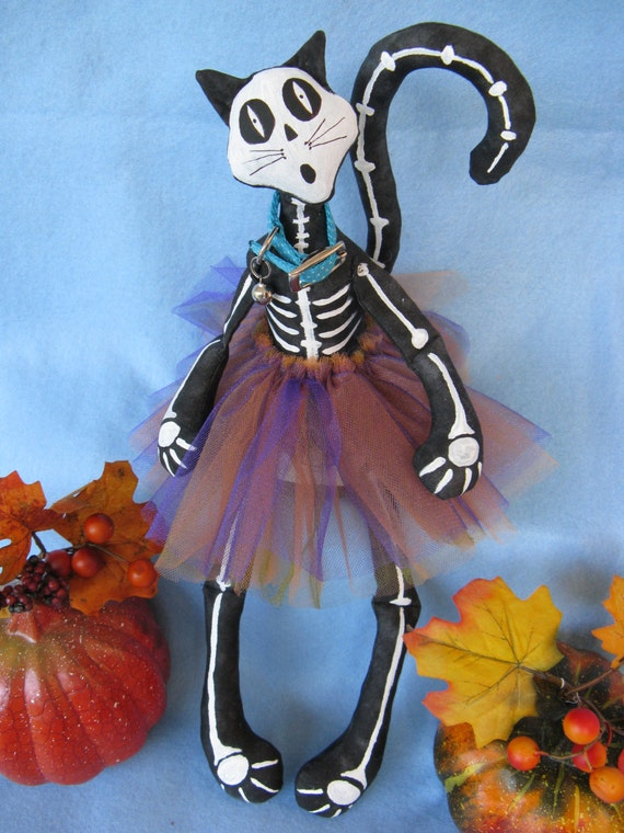 Bony Moronie - Cloth Doll E-Pattern  16in Skeleton Cat Doll epattern