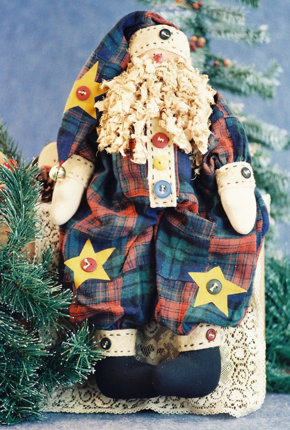 Buttons - Mailed Cloth Doll Pattern - 19in Folk Art Christmas Santa