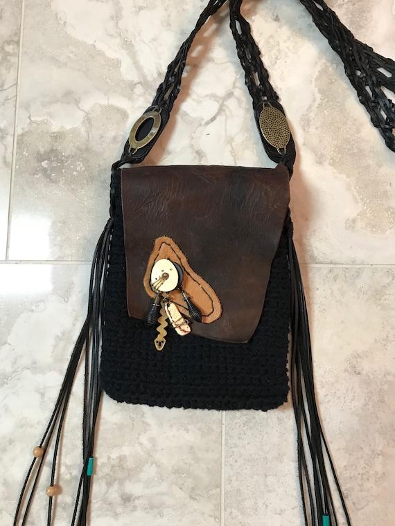 Handmade Boho, Hobo, Bohemian, Black Crocheted purse with Leather Flap, tassel, Cross Body, over the shoulder Bag