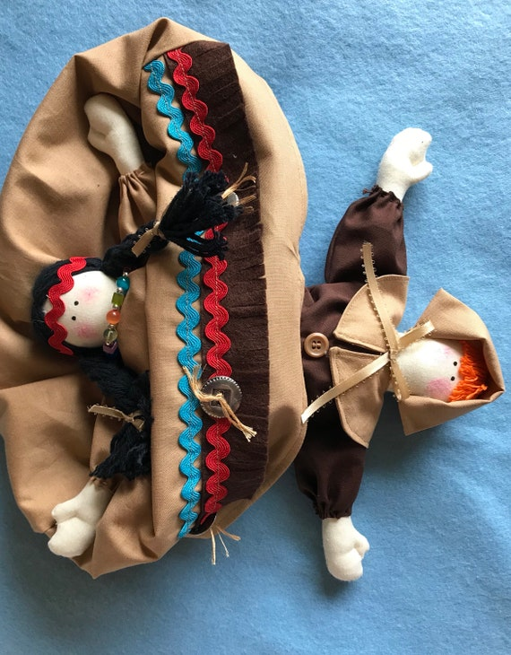 Mailed Topsy Turvy Pattern Pilgrim Indian Thanksgiving  Cloth Doll