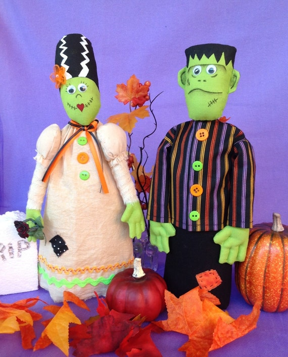 Frankie and Johnnie - Cloth Doll E-Pattern Save money Buy both Mr and Mrs Frankenstein Free Standing Stump Doll