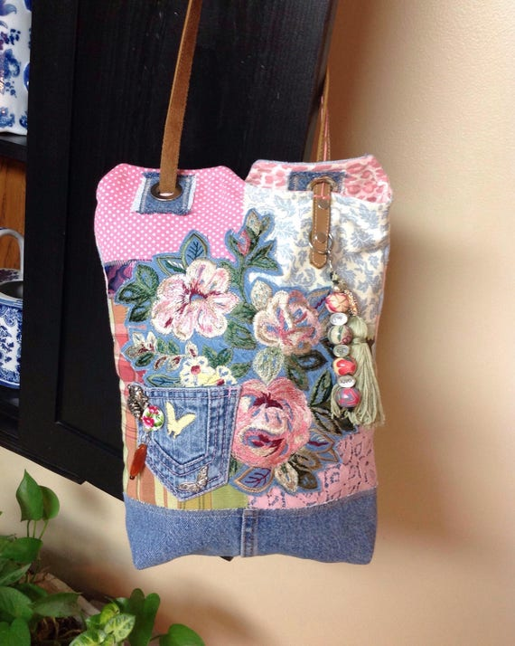 Handmade Colorful denim and floral boho, bohemian, Hobo, hippie, shoulder bag made of recycled materials