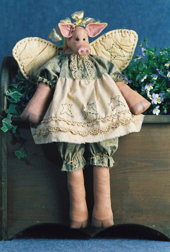 Hog Heaven - Cloth Doll E-Pattern - 20in Winged Country Girl Pig Angel