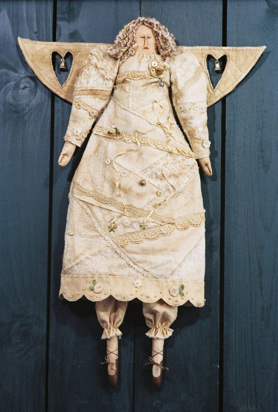 When an Angel Gets Her Wings - Cloth Doll E-Pattern - Victorian Crazy Quilt Christmas Angel