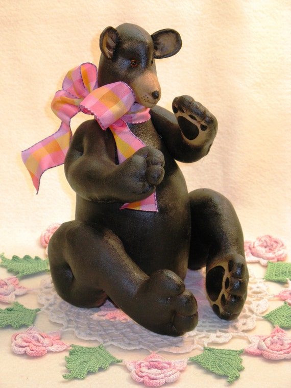 Black Bear Mailed Cloth Doll Pattern - Adorable 10in Doll